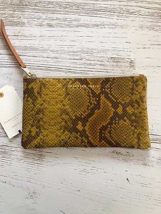 Pochette cuir impression python Isabelle Varin 23x13cm made in France