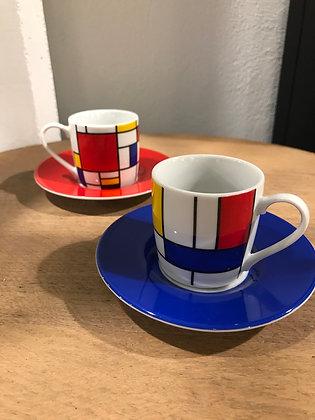 Ensemble 2 tasses à Expresso Hommage to Mondrian