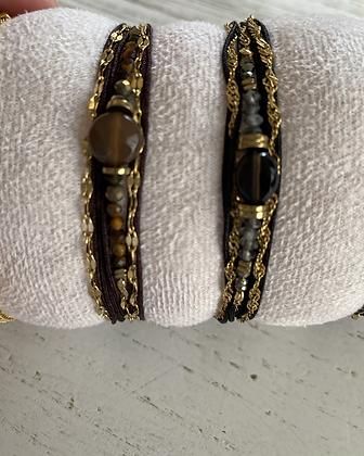 Bracelet multi tours noir ou marron au choix