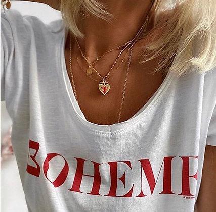 Teeshirt col V blanc bohème rouge