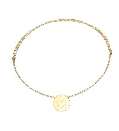 Bracelet cordon lurex doré symbole au choix