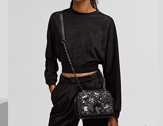 Petit sac cuir et tweed KL studio