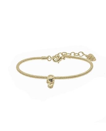 Bracelet en corde de guitare , petite tête de mort plaqué or