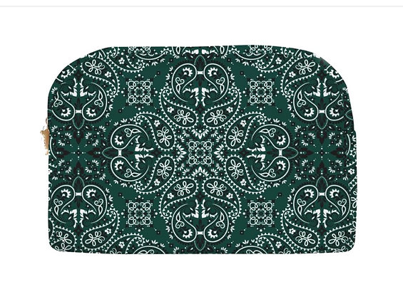 Pochette velours bandana vert taille L