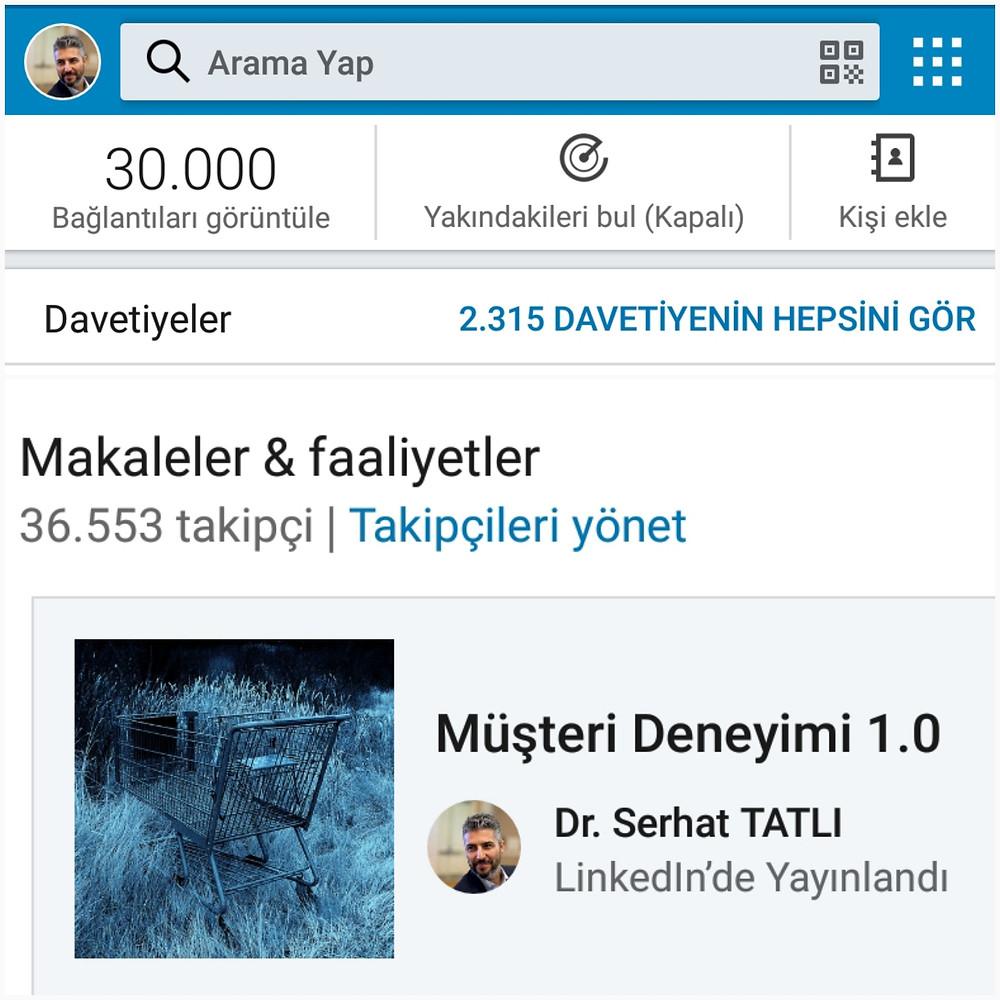 Dr. Serhat Tatlı Linkedin takipçileri 40.000 kişiye yaklaşıyor
