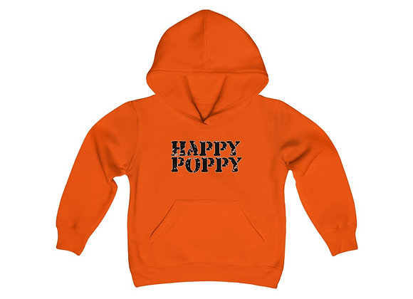 Youth Heavy Blend Hoodie - Happy Poppy Design 02 Black