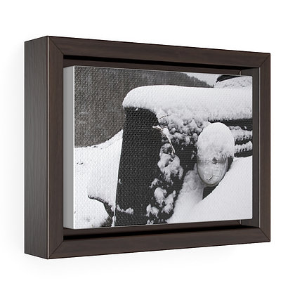 Horizontal Framed Premium Gallery Wrap Canvas - Snowy Poppy Car 01