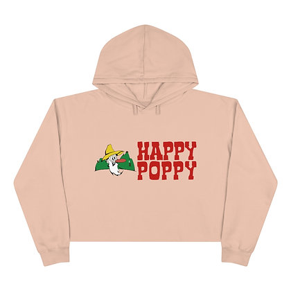 Crop Hoodie - Happy Poppy Design 01
