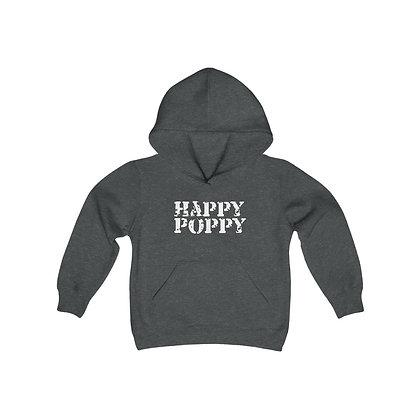 Youth Heavy Blend Hoodie - Happy Poppy Design 02 White