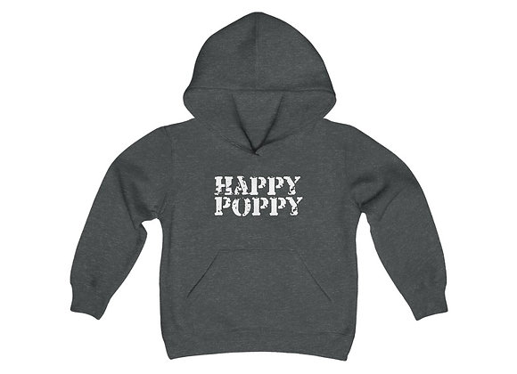 Youth Heavy Blend Hoodie - Happy Poppy Design 02 White