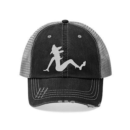 Trucker Hat Embroidered - Poppy Mud Flap White