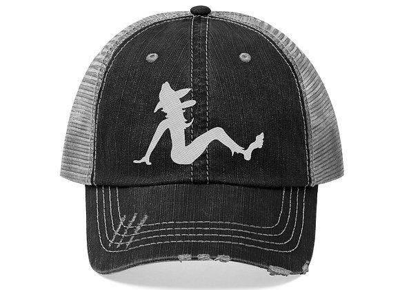 Trucker Hat Embroidered - Poppy Mud Flap White