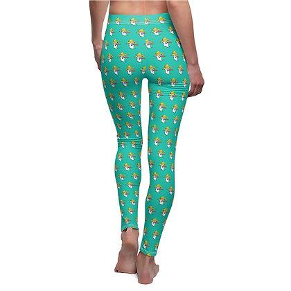 Women's Leggings - Poppy Pattern Teal