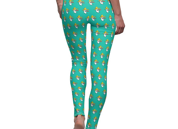 Women's Leggings - Poppy Pattern Teal