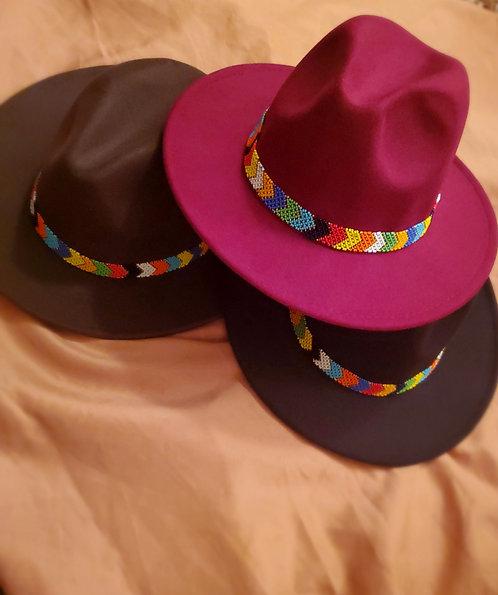 K. Stylez Beaded Fedora Hat