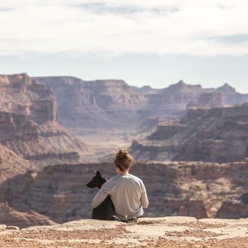 femme et chien regardant au-dessus du canyon