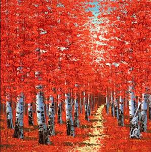 Birch tree painting art red
