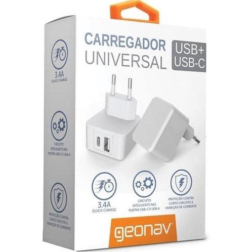 Carregador Universal USB-C + USB – Carga Rápida 3.4 A