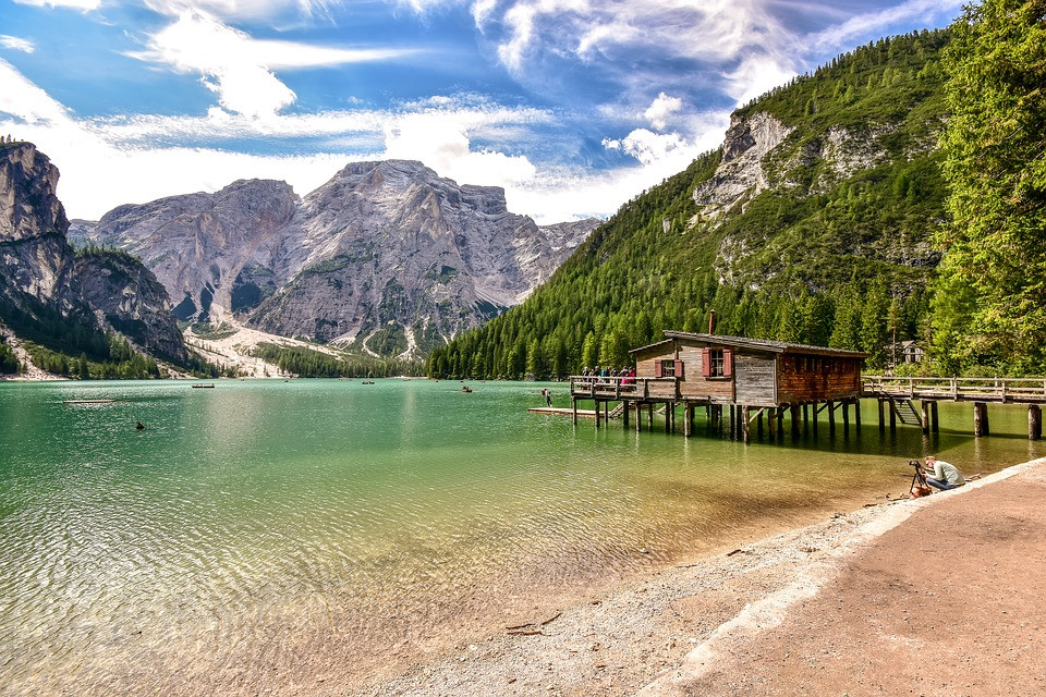 Lake Braies and Croda del Becco peak