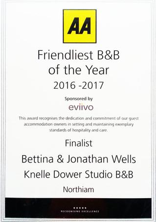 AA Friendliest B&B Award - Finalist