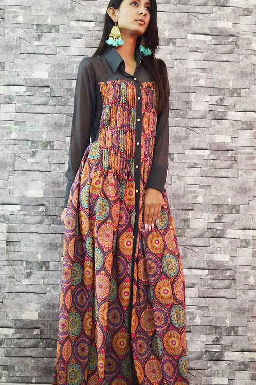 MANDALA JAMDANI DRESS
