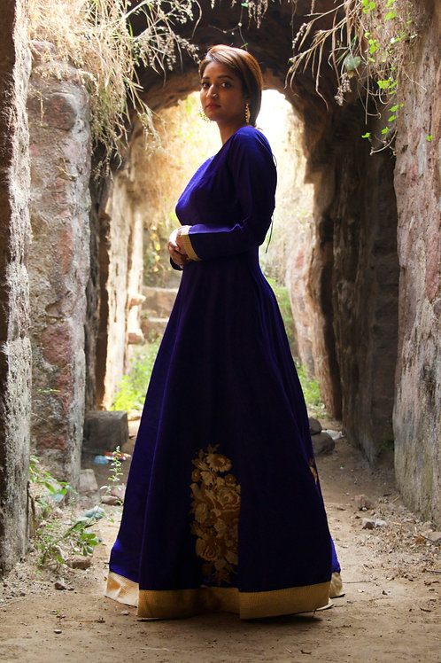 Prussian Blue Cocktail Gown