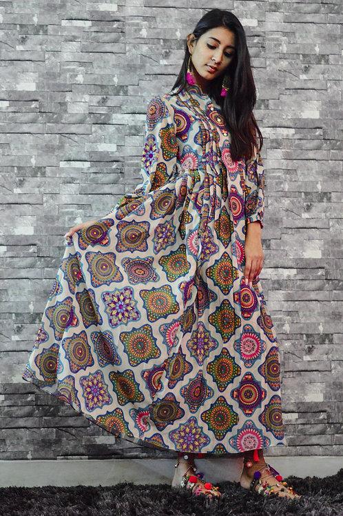 MANDALA JAMDANI HEX DRESS