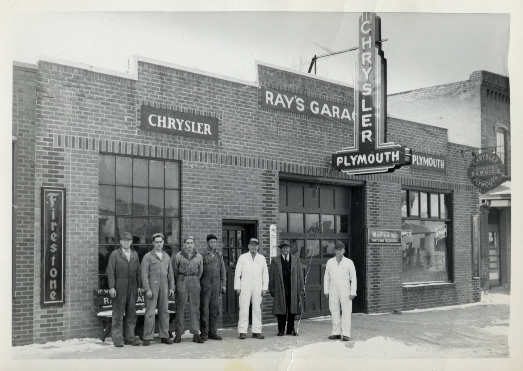 1947, Ray Mahowald's Automobile Garage, New Prague, Minnesota