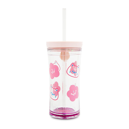 Contigo Shake Tumbler (Tritan) 16oz (473ml) - Pink w/ Sakura and Cats Graphic