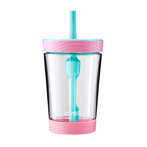 Contigo Spill Proof Tumbler with Silicone Cover (Tritan) 14oz (414ml)-Clear Body