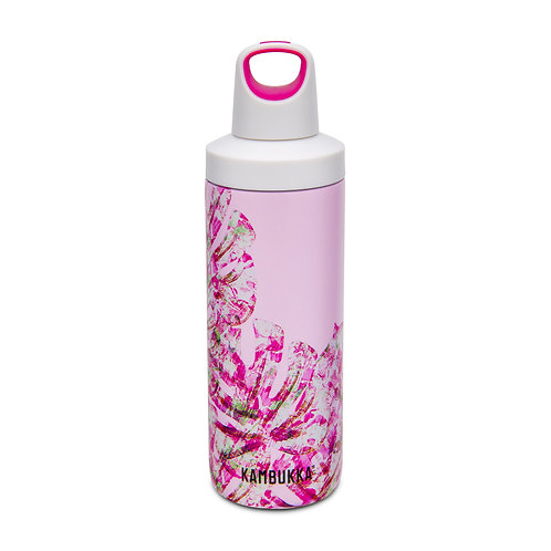 Kambukka Reno Insulated Water Bottle (SS) 17oz (500ml) - Coral w/ Monstera Leave