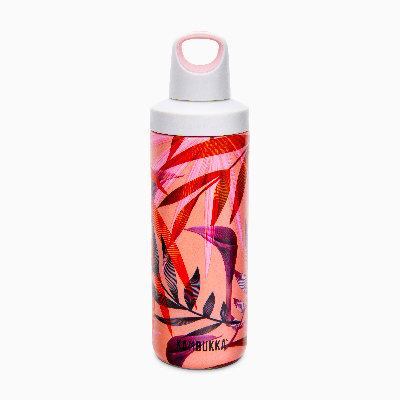 Kambukka Reno Insulated Water Bottle (SS) 17oz (500ml) - Coral w/ Trumpet Flower