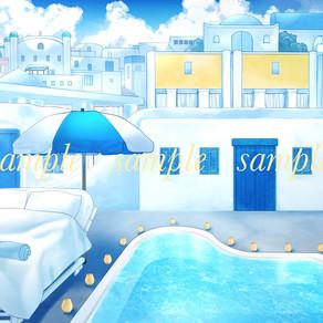【ご依頼】動画配信向け背景イラスト|ギリシャ・リゾートホテル風(ヨーロッパ系)