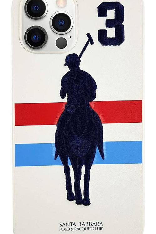 Luxury Santa Barbara Jockey Number Series Embroidery Leather Case for iPhone