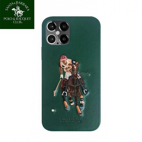Luxury Santa Barbara Jockey Polo Series Embroidery Leather Case for Apple iPhone