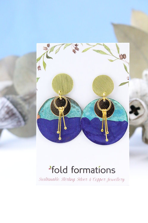 Abstract Blossom Earrings Purple
