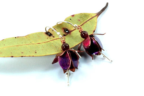 Pink & Purple Fuchsia Earrings