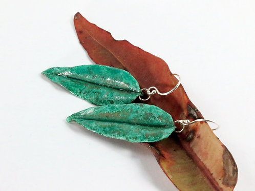 Emerald Green Gum Leaf Earrings