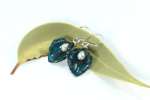Natural Blue Lily Earrings with Pearls