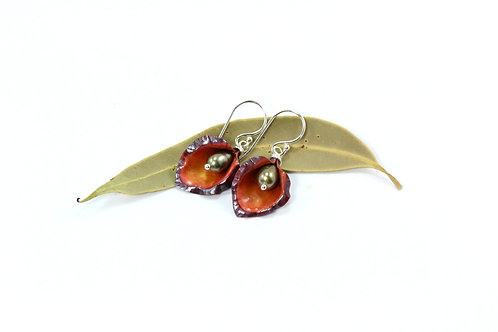 Red and Orange Lily Earrings with Green Pearls