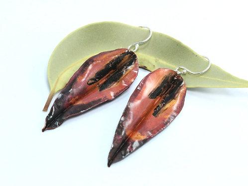 Large Red Green Gum Leaf Earrings