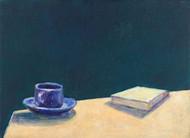 Tasse und Buch I, 2019, 30x40 cm, Öl auf Leinwand