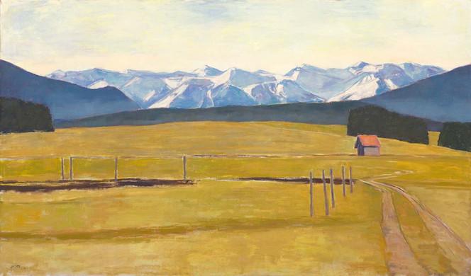 Grosse Landschaft bei Iffeldorf, 2019, 130x220 cm, Öl auf Leinwand