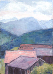 In Schwarzenberg, 2019, 70x50 cm, Öl auf Leinwand
