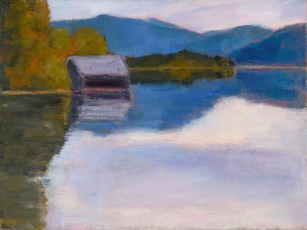 Walchensee im Herbst, 2019, 30x40 cm, Öl auf Leinwand
