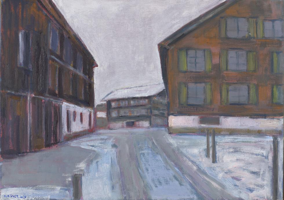 Wintermorgen im Dorf, 2019, 50x70 cm, Öl auf Leinwand