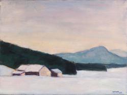 Winterlandschaft bei Iffeldorf, 2019, 30x40 cm, Öl auf Leinwand