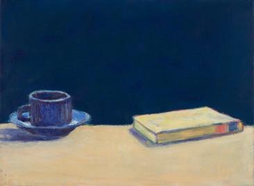 Tasse und Buch, 2019, 30x40 cm, Öl auf Leinwand
