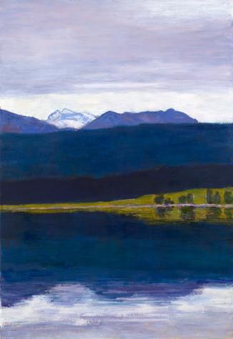 Walchensee, Abenddämmerung, 2019, 65x95 cm, Öl auf Leinwand