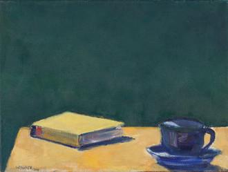 Tasse und Buch, 2018, 30x40 cm, Öl auf Leinwand